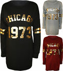 New Womens Chicago Gold Foil Print USA Long Sleeve Ladies Sweater Top Dress 8-14