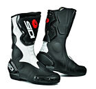 SIDI FUSION BLACK WHITE MENS AND LADIES MOTORCYCLE MOTORBIKE SPORTS BIKE BOOTS
