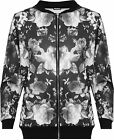 Womens Plus Floral Bomber Jacket Ladies Top Rose Print Long Sleeve Zip Stretch