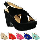 Women High Mid Heel Platform Flatform Wedges Shoes Peep Toe Sandals