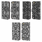 HEAD CASE DESIGNS BLACK LACE LEATHER BOOK WALLET CASE FOR APPLE iPOD TOUCH 5G 6G