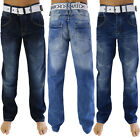 Crosshatch Baltman Mens Jeans New Straight fit Denim Pants With Free Canvas Belt