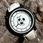 Mens Boys Casual Soccer Football Watches Leather Quartz Wrist Watch Kids Girls