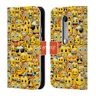 OFFICIAL EMOJI FULL PATTERNS LEATHER BOOK WALLET CASE COVER FOR MOTOROLA PHONES