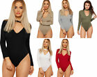 Womens High Neck Choker Keyhole V-Neck Bodysuit Ladies Long Sleeve Leotard Top