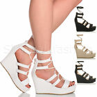 Womens ladies platform high heel wedge lace up wrap around caged sandals size