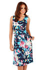 Pistachio Womens Floral Leaf Evening Dress Ladies Sleeveless Knee Length Midi