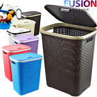 LARGE LAUNDRY BASKET WASHING CLOTHES STORAGE HAMPER RATTAN STYLE PLASTIC BASKET