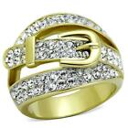 Women's Stainless Steel Gold G Belt Buckle Clear CZ Crystal Wide Band Ring 5-10