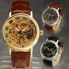 NEW Dress Golden Skeleton Mechanical Men's Watch Fashion Leather Analog Hours