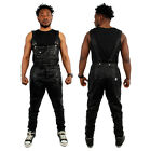 Streetwear Sixth June Faux Leather Dungarees Black N White Overalls Jumpsuit PVC