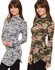 Womens Camouflage Curved Hem Top Stretch Print Turtle Neck Long Sleeve Ladies