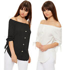 Womens Long Sleeve Polka Dot Gypsy Shirt Ladies Boho Spot Off Shoulder Side Slit