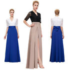 Womens 3/4 Sleeve Lace Long Vintage Evening Prom Mother Dress Maxi Cocktail Gown