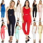 New Ladies Gold Belted Long Cut Out Lace Yoke Back Knot Jumpsuit One Size
