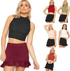 New Womens Ribbed Knitted Sleeveless Short Turtle Neck Vest Ladies Crop Top