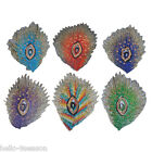 5PCs Peacock Feather Shape Patches Embroidered Iron On Patch 10.4x6.9cm