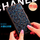 Bling Crystal Glitter Diamond Flip PU Leather Wallet Stand Case Cover For Phones