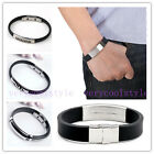 Men's Fashion Stainless Steel Black Rubber Bracelet Bangle Wristband Clasp Cuff