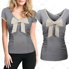 Ladies Elegant Evening Party Causal Wear Butterfly Knot Slim Stretch Blouses Top