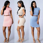 Women Casual Summer Short Sleeve Bodycon Bandage Stretchy Dress With Belt