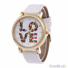 "Gift Fashion ""LOVE"" Letter Couples Ladies Mens Soft Faux Leather Quartz Watches"