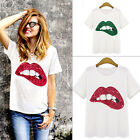 Summer Sexy Girl Tops Lip T-Shirt Women Fashion Sequined Short Sleeve Blouse