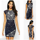NEW ASOS LIPSY SCALLOP LACE DRESS NAVY IVORY PARTY OCCASION RRP £55 SIZE 6 - 16