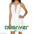 Women White Halter Sundress Sexy Backless Beach Dress Above Knee Lace Embellish