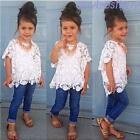 3PCS Toddler Kids Baby Girls Summer Clothes T-shirt Tops+Long Demi Pants+Vest