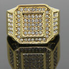 Men's 14K Gold Plated Hip Hop Octagon Fully Cz Around Ring Sizes 7 8 9 10 11 12