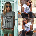 Women Summer Blouse Cotton Letter Print T Shirt Short Sleeve Casual Shirt Tops