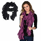 Ladies Emmeline Fashion Scarf Crochet Lacy Knit Winter Accessory Orchid Purple