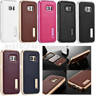 Shockproof Luxury Aluminum Metal Genuine Leather Case For Samsung Galaxy S7 Edge