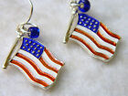 USA Flag Earrings Red, White & Blue Enamel & Blue Bead Accent! Silver Tone