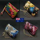 Quadruple Zip Genuine Leather Ladies Womens Cross Body Bag Clutch Wristlet Bag