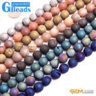 Metallic Titanium Coated Drusy Druzy Quartz Agate Round Beads Free Shipping 15""