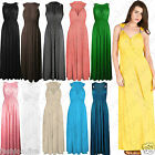 Womens Ladies SPRING COIL Long Grecian Style Stretch Maxi Dress Summer Flare UK