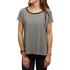 VOLCOM LIVED IN STRIPE TOP BLACK WOMENS CASUAL T-SHIRT AUSTRALIA CLEARANCE