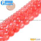 Red Waterlemon Tourmaline Crystal Quartz Faceted Round Beads Free Shipping 15""