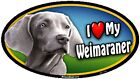 "I (Heart) my Weimaraner - 6"" x 4"" Oval Dog Magnet for Cars and Fridges"