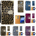 Leopard Print Leather Flip Wallet Case Pouch w/ Strap Diary Cover for Cell Phone