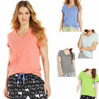 New HUE Soft Modal Knit Short Sleeve V-Neck T-Shirt Women's Top Small Medium Lg