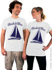 Boats and Hoes - White Unisex T-Shirt with Navy Blue Ink - Boats n Hoes T Shirt