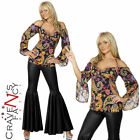 Ladies Hippie Costume Flares & Top 60s 70s Hippy Fancy Dress Outfit 8-22 New