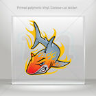 Stickers Decal Shark With Flames Helmet Atv Bike durable vinyl bike mtv ZZ465