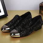 Mens Rivet Rhinestones Pointed Toe Leather Fashion Forma Dress Business Shoes