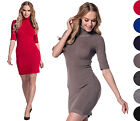 Glamour Empire. Women's Stretch Warm Knit Mini Dress Polo Turtle Roll Neck. 125