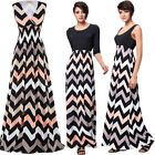 Fashion Ladies Dress Summer Stretchy Wave Stripe V Neck Long Maxi Party Evening