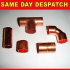 10mm Copper fittings coupler elbow tee reducer end feed stop end new